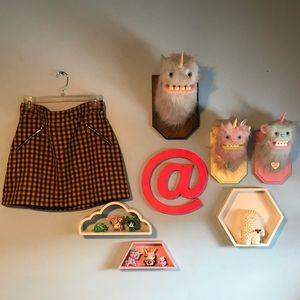 Gingham yellow skirt w pocket details